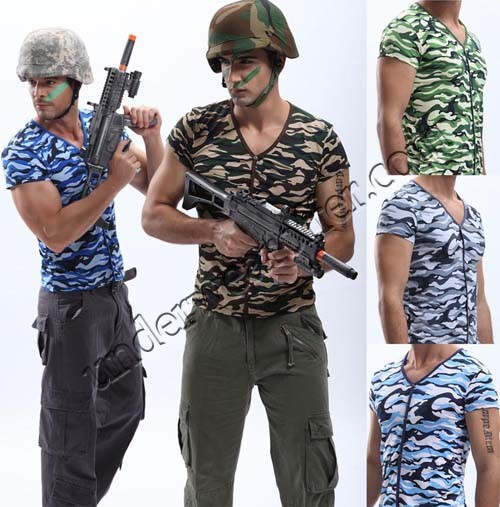Cool Men's Camouflage Singlet War Game Field Training Undershirt Casual T-Shirt MU1845