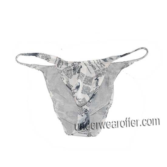 Men's Newspaper Bikinis Briefs Underwear Pouch String Cheeky Briefs Thong Pants MU735