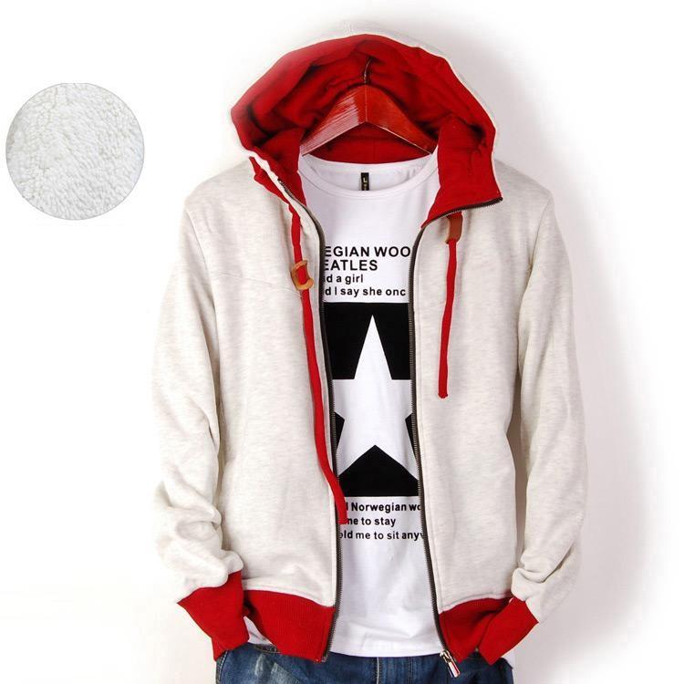 Men's Slim Designed Solid Color Hooded sweater Thick Coat Jacket MS02