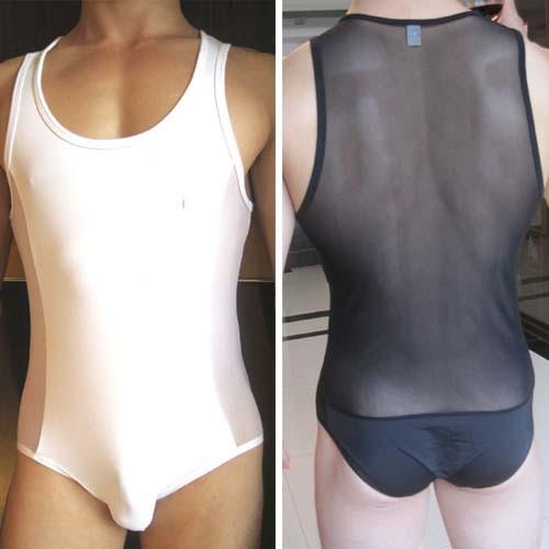 New Sexy Mens See-through Underwear Bodysuit Black & White MU69