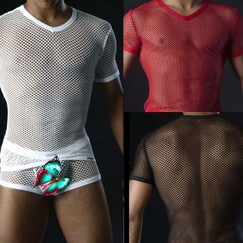 Sexy Mens big Mesh Underwear Short sleeve T-shirt MU78