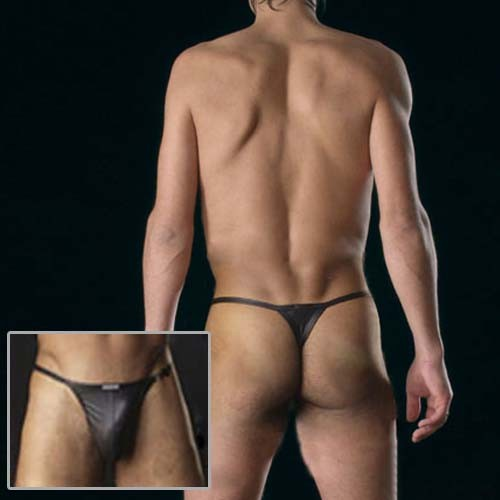 Black Mens sexy Faux leather underwear G-string MU90