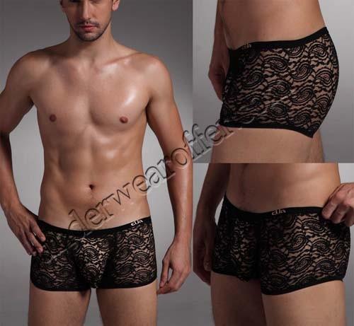 Sexy Men'S U-Briefs Lace Mesh Gripper Trunk Underwear See Through Lace Boxers Briefs MU1905