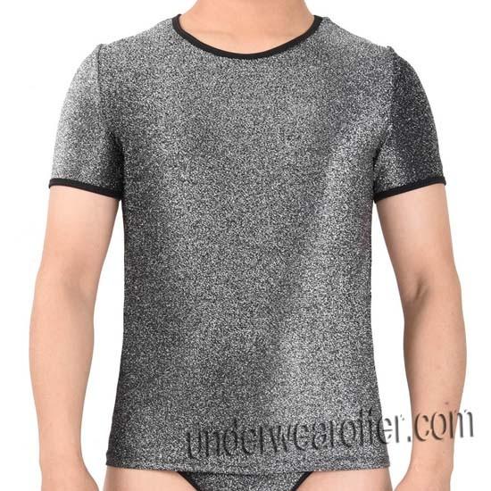 Shiny Men's Stretchy & Soft T-Shirts Cool Male Tee Undershort Short Sleeve Vest MU607