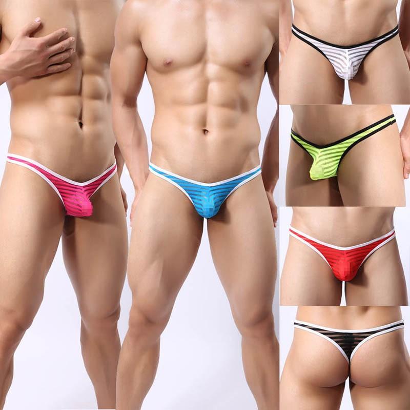 Update Men's Mesh Striped Thong Spun Yarn Bikini Thong Underwear Pouch T-Back Pants G-String MU1961