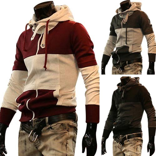 Men's Stylish Slim Fit Jackets Coats Hoody 4 Size 3 Color MU1033