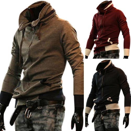 Men's Stylish Slim Fit Jackets Coats Hoody 4 Size 3 Color MU1035