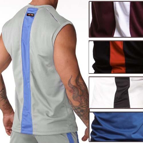 Mens GYM Sweat Tank Tops Vests Undershirt Wife Beater Sport T-Shirts MU154 S M L