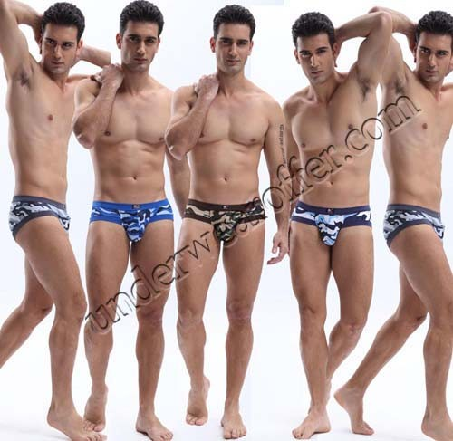 New Arrivals Sexy Men's Comfortable Camo Military Bikinis Boxers Underwear Soft Camouflage Briefs 4 Sizes 5 Colors For Choose MU1848