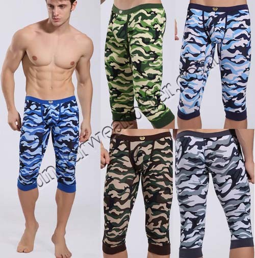 Sexy Men's Super Low Rise Camouflage Soft Shorts Underwear Fifth Skinny Pants Leggings Underpants Gym Casual Sports Running Fifth Trousers