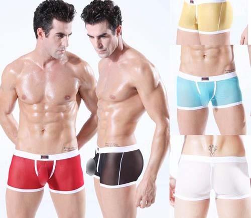 Sexy Men's See-Through Mesh Boxer Short Bottoms Lithe Underwear Boxers Briefs MUI1856