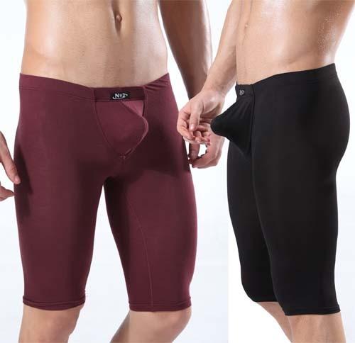 Mens Modal U-Briefs underwear half shorts Boxer with Trunks Enhance Pouch MU327 M L XL