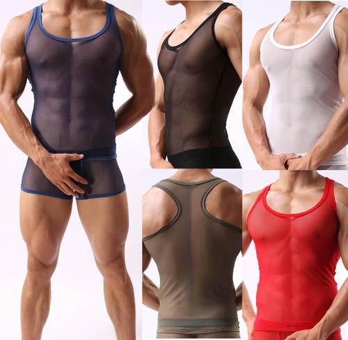 Super Sexy Men's See Through Soft Mesh V-neck Line T-Shirts Underwear Tank Top Vest Size M L XL MU344