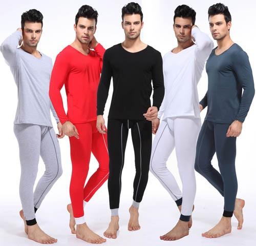 NEW Fashion Men's Cotton Thermal Set Top & Bottom Underwear Long V-neck T-shirts & Long John 5 Colors Asia Size M L XL XXL AU363