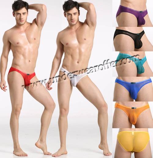 Sexy Men's Sheer Mini Briefs Bulge Pouch Underwear See Through Mesh Bikini Briefs Size S M L 8 Colors For Choose MU884