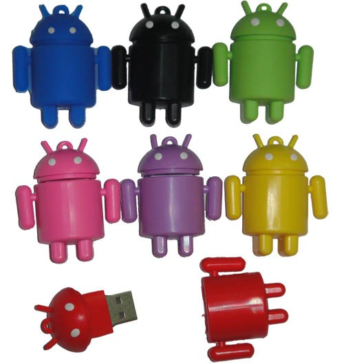 8/16/32GB CuteRobot USB Flash Memory DriveRubber Android Robot Figure ShapedPen DriveEU14