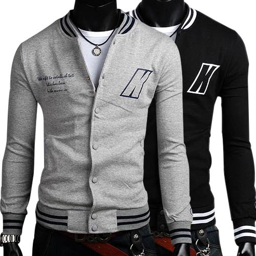 Men's Stylish Slim Fit Jackets Coats Hoody Black & Grey XS~L MU1029