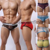 Brand New Sexy Men's See-through Soft Mesh Briefs Underwear Comfy Videotape Style Belt Briefs 6 Colors MU376
