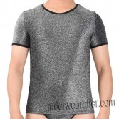 Shiny Men's Stretchy & Soft T-Shirts Cool Male Tee Undershort Short Sleeve Vest MU607