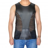 Sexy Men's Tee See-Through Striped Mesh Splice Leather Like Vest Cool Tank Top Original T-Shirts MU908
