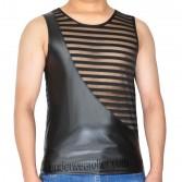New Tee Men Leater Like & Stripe Transparent Mesh Vest Sleeveless T-Shirts MU906