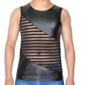 Avant Garde Sleeveless T-Shirts Men's Leater Like Striped Transparent Mesh Vest MU907