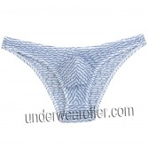Men's Floating Lace Bikini Mini Briefs Bulge Pouch Male Irregular Stripe Underwear Half Over Hips Short Pants MU262X