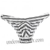 Men's Unique Stripe Mesh Mini Briefs Underwear Bluge Pouch Bikinis Briefs Pants MU268X