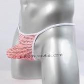 Mens Jacquard Mesh T-Back Underwear Sexy String Crotch & Bulge Pouch Micro Thong MU258X