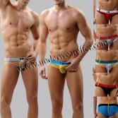 Sexy Men's See-through Brief Shorts Stripes Organza Bottoms Underwear Sheer Briefs Size S M L XL 7 Colors Offer MU1880