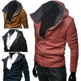 Men's Slim Fit Fashion Sexy Zip Up Jackets Hoodies 4 Color MU1021