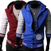 Men's Stylish Slim Fit Jackets Coats Hoody 4 Size Blue Wine Red MU1027