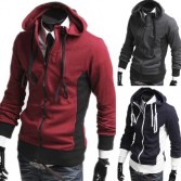 Men's Stylish Slim Fit Jackets Coats Hoody Size XS~L 3 Color MU1028