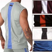 Mens GYM Sweat Tank Tops Vests Undershirt Wife Beater Sport T-Shirts MU154 S M L