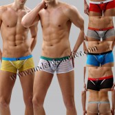 Sexy Men's See-through Brief Shorts Stripes Organza Bottoms Underwear Sheer Boxers Size S M L XL 7 Colors Offer MU1881