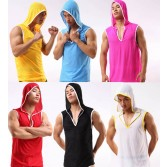 Fashion Sexy Men's Soft Hooded Vest Sports Underwear Breath Holes Tank Top Vest With Hat Asia Size M L XL 6 Colors MU1942