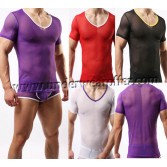Super Sexy Men's Thin Mesh Short Sleeve Tee Shirts Underwear Sheer T-shirts Asia Size M L XL MU1950