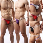 Brand New Sexy Men's See-through Mesh Thong Underwear Comfy Sheer Pouch Single Side G-String Asia Size M L XL 4 Colors For Choose MU1954