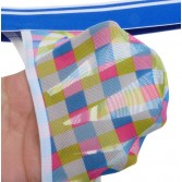 Colorful Checkered Men Pouch Mini T-Back Underwear Mini Thong Belt String Pants MU217X