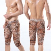 Sexy Leopard Men's Small Mesh Underwear half shorts Boxer U-Briefs design MU312 M L XL