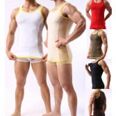 Super Smooth Sexy Men's Splice See Through Mesh Tank Top Underwear T-Shirt Vest Size M L XL MU352