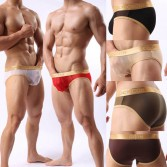Sexy Men's Splice See Through Mesh Boxers Briefs Underwear Comfy Thin Briefs M L XL 6 Colors For Choose MU361