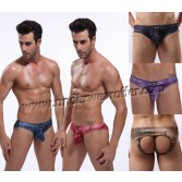 Sexy Men Soft Jeans Style Thong Underwear Back Empty Brief Pouch Backless Briefs Asia Size M L XL XXL 5 Colors For Choose MU368