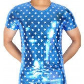 Men Star Pattern Short Shirt Show Top Casual Wear Leather Like T-Shirt Underwear MU404
