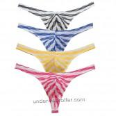 Men's Bluge Pouch Thongs Unique Stripe Mesh G-Strings Underwear MU266X