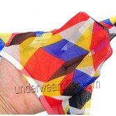 Men's Pattern Thong Yarn Plaid T-Back Mini Bikinis Bulge Pouch Cylinder Male G-string Underwear Pants MU251X