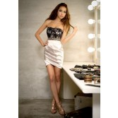 Women Sexy Lace Strapless Elegant Bottoming Package Hip Tight Slim Dress WD04