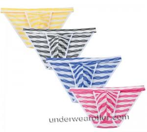 Men's Bluge Pouch Bikinis Briefs Pants Underwear Unique Stripe Mesh Mini Briefs MU269X