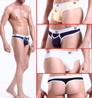 Sexy Mens Underwear Thong Briefs with penis hole MU144
