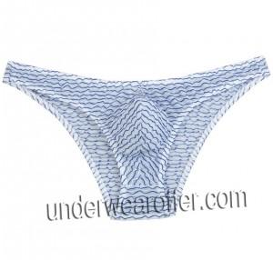 Men's Floating Lace Bikini Mini Briefs Bulge Pouch Male Irregular Stripe Underwear Half Over Hips Short Pants MU262X